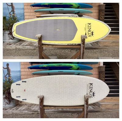 "USED SUP, USED PADDLEBOARD, 8'2"" x 30"" x 4 1/4"" Kings Custom $900"