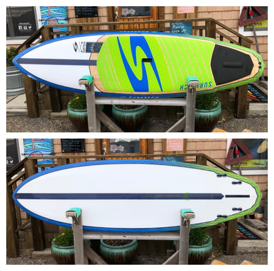 "Jeff Clark ""Claw"" by Surftech.  9'6""x30.5""x4.5"" / 150L 9'x30""x4.5"" / 139L 8'6""x29.3""x4.5"" / 128L Fusion V-Tech construction. This is Surftech's newest collaboartion with legendary pioneer Jeff Clark. Jeff's answer to high-performance paddle surfing, With a pulled in nose transitioning to chimes rails allows the board to easily get on edge. It features a 4 + 1 fin system for maximum versatility in all conditions. This board comes in 3 sizes as shown above."