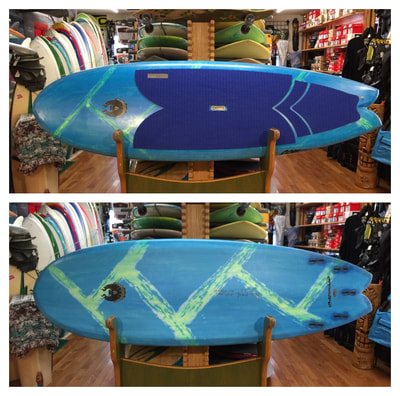 "COREVAC CANNIBAL SUP, Paddleboard, FISH  8' x 29.5"" x 4.25"" x 110L  COREVAC CANNIBAL SUP FISH features a wide outline for stability, a fish-tail, with a double concave-chined rail hull for  speed, and maneuverability. This board works well as a quad or twin with small trailer. Lots of fun in average east coast waves, snappy turns, floaters, fits well in the face of the wave for spontaneous maneuvers."