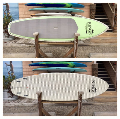 "USED SUP, USED PADDLEBOARD,9'x30""x4 1/4"" Kings Custom Lazer $900"