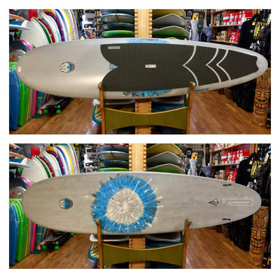 "COREVAC CANNIBAL LB SUP 9'8"" x 29.75 x 4 3/8"" 134L  COREVAC CANNIBAL LB SUP is a stretched out version of a high performance longboard. Will handle 1-6+ foot surf. From nose-riding, to pivot turns, and glide that will connect through flat sections of waves allowing for long rides. 2 + 1 fin set up allows for a variety of arrangements from single fin, to small side-bites, to a thruster set-up."
