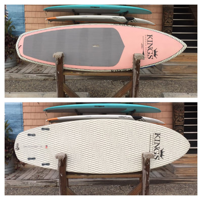 "USED SUP, USED PADDLEBOARD, 7'10"" X 28.5"" X 4.35""  Kings Custom $900"