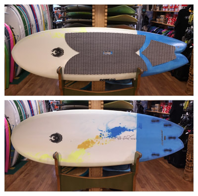"COREVAC, CANNIBAL, PADDLEBOARD, SUP FISH  7'10"" x ""30.25"" x 4 1/8"" 107L  COREVAC CANNIBAL SUP FISH features a wide outline for stability, a fish-tail, with a double concave-chined rail hull for  speed, and maneuverability. This board works well as a quad or twin with small trailer. Lots of fun in average east coast waves, snappy turns, floaters, fits well in the face of the wave for spontaneous maneuvers."